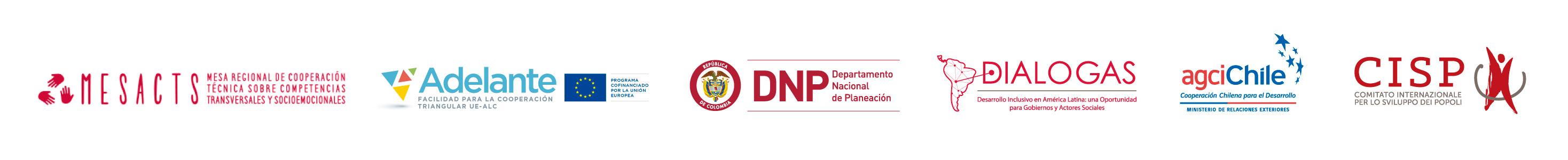 Logos: MESACTS, ADELANTE, DNP, DIALOGAS, AGCICHILE, CISP